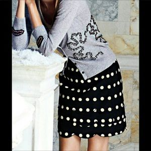Anthro Floreat polka dot scallop skirt size 8